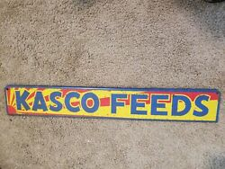 Kasco Feeds Metal Tin Sign Farm Barn Corn Cow Pig Chicken Hen Horse Vintage Old