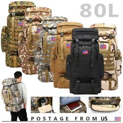 80L Outdoor Military Molle Tactical Backpack Rucksack Camping Bag Travel Hiking $29.99