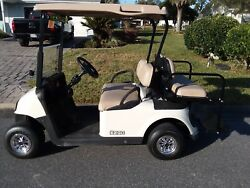 2014 EZGO RXV electric golf cart white sped up new batteries deluxe LED lights