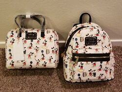 Disney MICKEY MOUSE Pose ~ All Over Print Purse Duffle Style Bag and Backpack