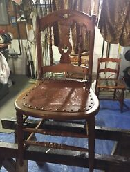 2 Antique Oak Dining Chairs W/leather Like Composite Seats With Nail Heads