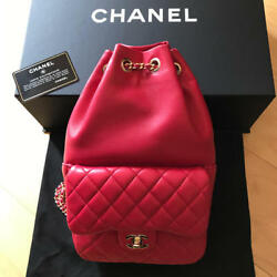 CHANEL Red Bag Backpack Rucksack Purse Chain Shoulder Lambskin Woman Auth Mint