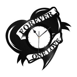 One Love Heart Vinyl Wall Clock Record Gift for Friends Home Room Decoration