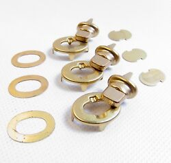 Common Sense Eyelet And Stud Turn Button Fasteners Gilt Brass Finish 3 Pc.