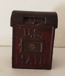 Vintage Antique U.s. Post Office Mail Cast Iron Metal Coin Bank
