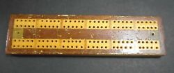 Antique 1800and039s Wood Cribbage Board 8 1/4 Long