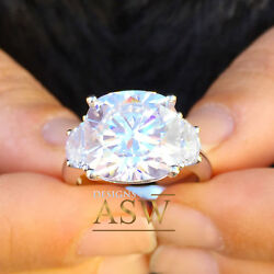 14k Solid White Gold Cushion Half Moon Cut Diamond Engagement Ring Propose 6.00