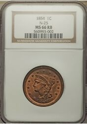 1854 1c N-25 Ms66rb Red-brown Coronet Braided Hair Large Cent Rare