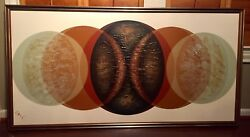 Vintage Modern Abstract Oil Painting Retro Art 1960s/70s Canvas Framed
