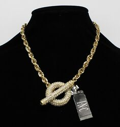 New Gold Crystal Pave Toggle Necklace by INC. #N2411 $12.99