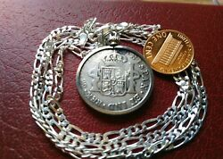 1816 Colonial Spanish 2 Reale .896 Silver Pendant 28 Italian Made Silver Chain
