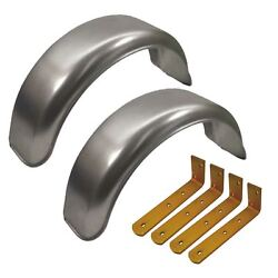 8 Metal Mudguards Fender Pair Offset Fit And Mud Guard Angle Large Brackets