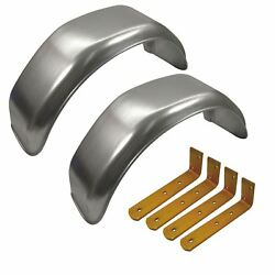 10 Metal Mudguards Fender Pair Offset Fit And Mud Guard Angle Large Brackets