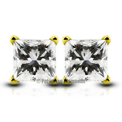 2.09ct F-VS1 Ex Princess Natural Diamonds 14k Gold 4-Prong Basket Earrings 5.8mm