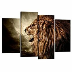 Wall Art Canvas Lion Animal Home Office Bedroom Living Room Modern 4 Pc Gift New
