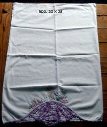 Vintage Pair Of Embroidered Crocheted Southern Belle Pillowcases.....