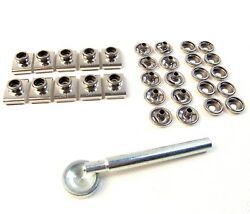 Windshield Clip 3/4 And Snap Replacement Kit, Stainless Steel, 10 Piece Set