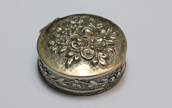 800 Solid Silver South Asian Lime Paste Pot Floral Decoration Gilt Gold Interior
