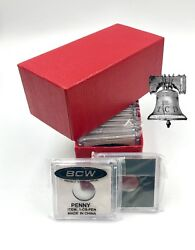 15 Bcw Coin Holder 2x2 Snap Capsule And Red Single Row Storage Box 4.5x2x2 Case