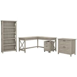 Key West 60w L Shaped Desk With Cabinets And Bookcase In Washed Gray