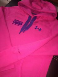 UNDER ARMOUR Storm Hoodie Womens PINK Embroidered National Guard Logo Military S