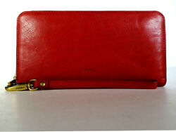 FOSSIL Wallet Large Red Leather Clutch Wallet 'Emma' Wristlet Purse RFID *PRIMO*