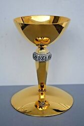 + Nice Antique All Sterling Silver Chalice Made By Beaugrand + 7 Ht. + Cu509