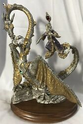 1991 Masterworks Pewter Le - 10andrdquo Guardian Of The Crystal - Mint -dragon And Wizard