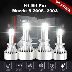 Front 4X H1 LED Headlight Kit Bulb For Mazda 6 2008-2003 Auto Cree High Low Beam