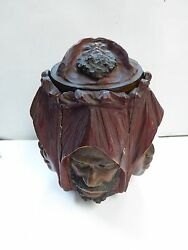 Antique Carved Tobacco Wood Humidor With Arab Faces - Austria Ca.1900 Very Rare