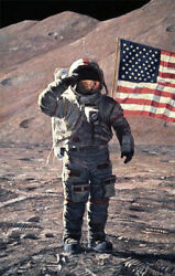 Alan Bean A Fire To Be Lighted 27x18 S/n Canvas Space Man On Moon American Flag