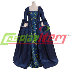 18th Century Marie Antoinette Colonial Medieval Blue Ball Gown Sack Back Dress