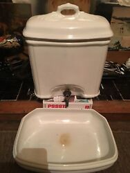 Vintage White Ceramic Holly Water Dispenser And Trough With Lift Off Cover