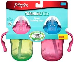 Playtex Training Time Straw Cups 6 Ounce 2 Count (Colors May Vary) (Pack of 3)