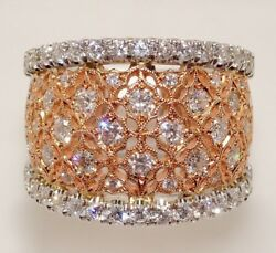 14k White And Rose Gold Diamond Ornate Wide Band 5320