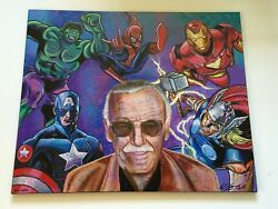 Stan Lee Limited Edition Giclandeacutee On Canvas Bill Lopa 50/50 With Coa Spider-man 1