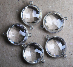925 Sterling Silver Rock Crystal Faceted Coin Connector 20Pc 27mm