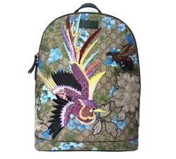 GUCCI GG Supreme Embroidery Bag Backpack Rucksack Bird Floral Canvas Mint Auth