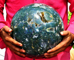 Huge 250mm Natural Geode Blue Moss Agate And Lace Agate Combination Chakra Sphere