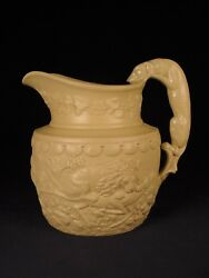 Very Rare 1800s Hound Handle Signed W.ridgway And Co. Dog Pitcher Yellow Ware Mint