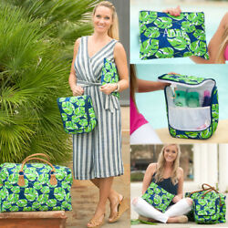 PERSONALIZED TROPICAL LEAF WEEKEND TRAVEL TOTE BAG HANGING COSMETIC or ZIP POUCH