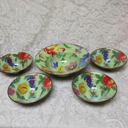 Mackenzie Childs Green Flower Market 5pc Pasta, Salad Or Soup Bowl-12ind N 7.5in