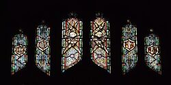 + Older Stained Glass Church Window + By J. Morgan Transom Sb20 + Chalice Co.