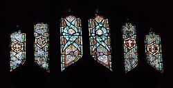 + Older Stained Glass Church Window + By J. Morgan Transom Sb23 + Chalice Co.