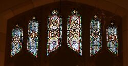 + Older Stained Glass Church Window + By J. Morgan Transom Sb16 + Chalice Co.