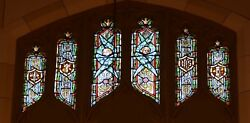 + Older Stained Glass Church Window + By J. Morgan Transom Sb17 + Chalice Co.