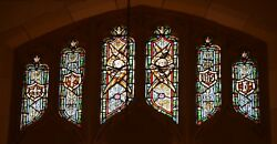 + Older Stained Glass Church Window + By J. Morgan Transom Sb18 + Chalice Co.