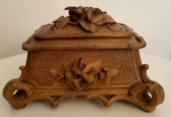 Circa 1920 Black Forest Brienz Hand-carved Box With Morning Glory Flowers On C