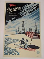 Shepard Fairey Obey Giant Paradise Until the Tide Turns Signed Poster Climate