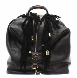 LOVE MOSCHINO Women's Bag Backpack Leather Black Logo Gold New